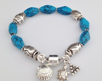 Sterling Silver and Blue Howlite Bracelet with Magnetic Clasp