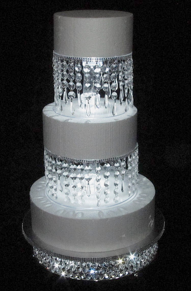 4 Piece Lighted Wedding Cake Stand Chandelier Style With