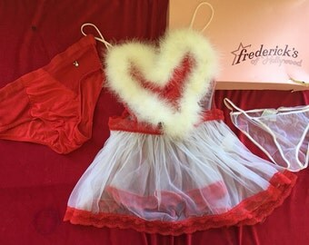Fredericks' of Hollywood 80s NWT couples red sateen, white lace, white maribou Valentines' lingerie set. One size fits most