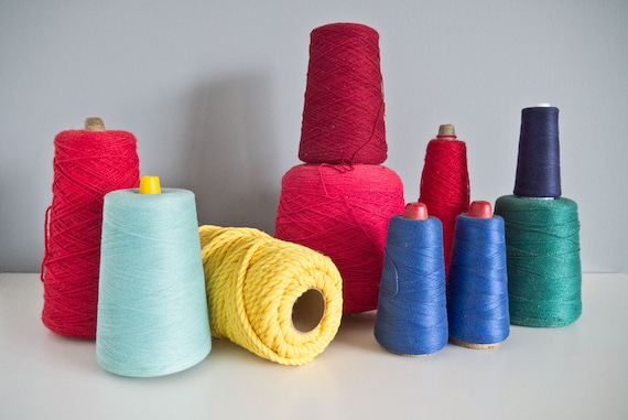 """Vintage Large Yarn Cone and Thread Cone 10 Mid Century """"Scandinavian"""" Colors Lot"""