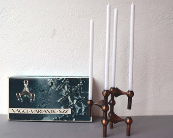 BMF Quist Nagel candle holder set of 3 candle sticks stackable holders bronze
