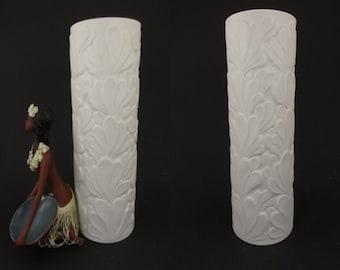 Large vintage Op-art bisque porcelain vase / Hutschenreuther / model 5084 28 / F. v. Gugel | West German Pottery | 60s