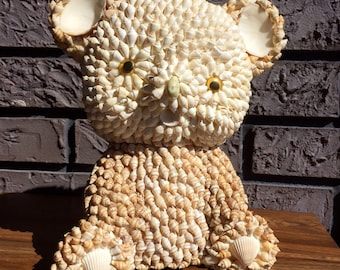 """FREE USA Shipping Vintage Seashell Teddy Bear Figure BIG! 10"""" High Made in Philippines"""