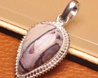 Natural Tiffany Stone silver plated pendant  ( #J1563)