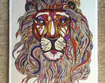 Lion Greeting Card of Original Painting