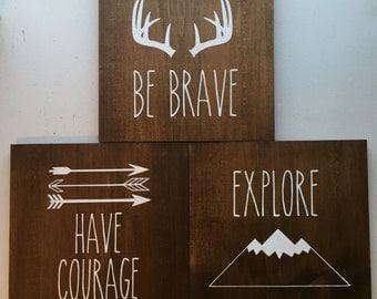 Woodland Wood Sign Set, Explore, Have Courage, Be Brave // Kids Room Decor // Nursery // Play Room Decor // Baby // Boys Room Decor