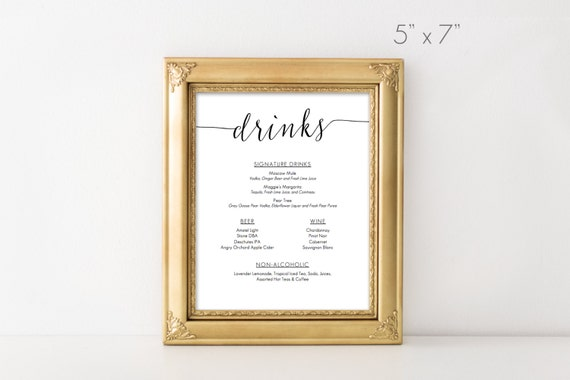 printable drinks menu 5x7 inches instant download. Black Bedroom Furniture Sets. Home Design Ideas