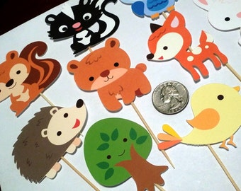 Woodland Creatures Animals - Cupcake Toppers/ Die Cuts and Raffle Tickets