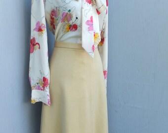 1970s Yellow Knit Career Skirt, A Line Skirt, Secretary Skirt