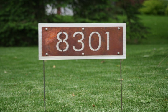 Two sided rustic address number yard sign house number can - House number signs for yard ...