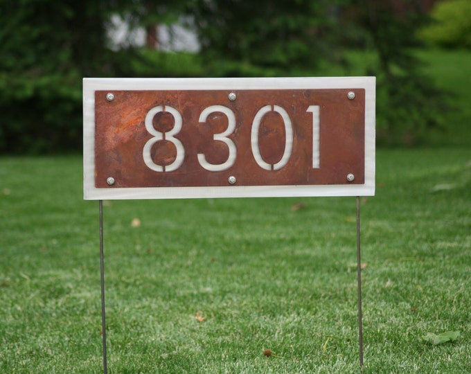 Featured listing image: Two-Sided Rustic Address Number Yard Sign  -- House number can be read from either side! Metal Street Address Sign, House Number Sign