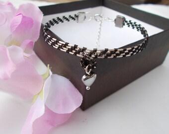 Haematite bracelet , charm bracelet , wire bracelet , wire jewelry , wire wrapped jewelry , haematite jewelry , black bracelet , jewelry