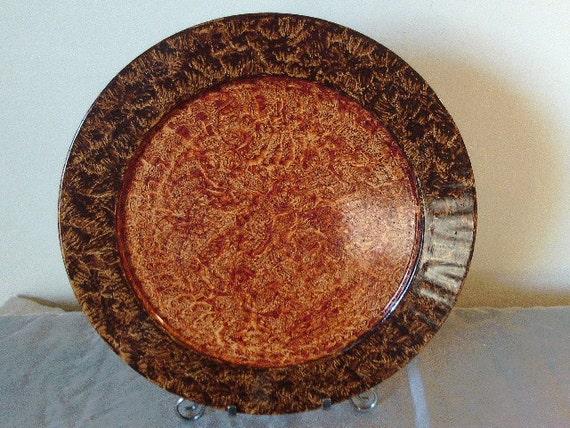 Large Vinegar painted metal tray in dark brown and sienna