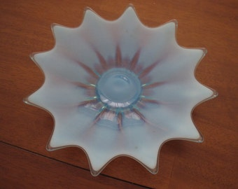 """Milky blue glass dish plate 10"""""""