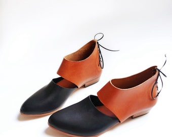 The Rakia. Black and Cognac. 2cm. Handmade Womens Shoes. Handmade Leather Shoes.