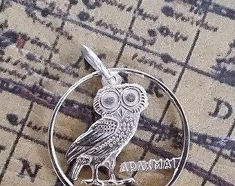 Brass cut coin owl design