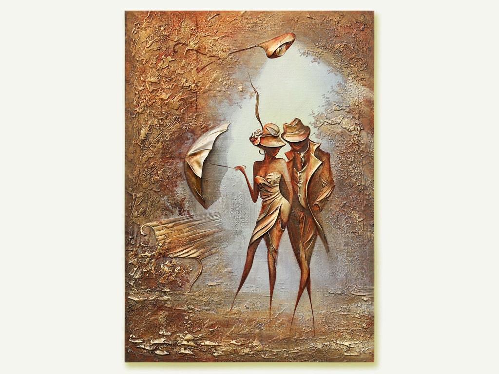 Original oil canvas art painting gold leaf painting impasto for Gold paintings on canvas