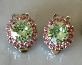 Chrysolite & Light Rose Crystal Clip On Earrings, Silver