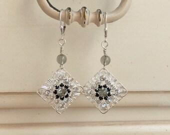 Black & White Crystal Filigree Tile Earrings