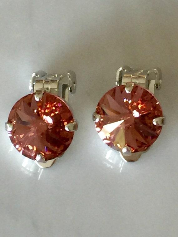 Blush Rose Crystal Clip On Earrings,  Swarovski Blush Rose Clip On Earrings, Swarovski Rose Clip On Earrings