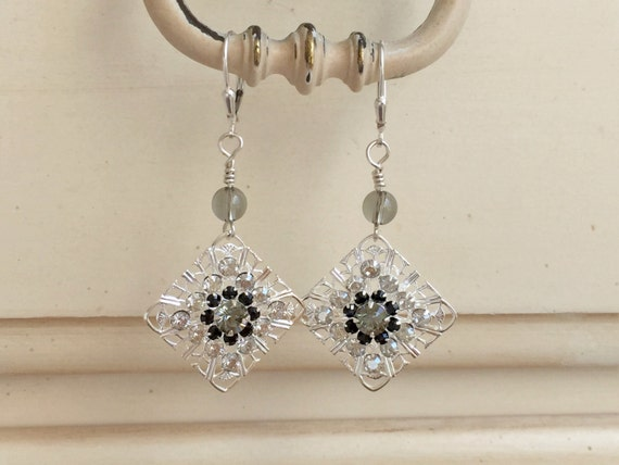 Black & White Crystal Filigree Tile Earrings