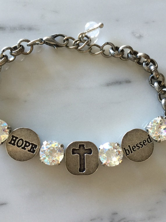 Blessed Bracelet with White Patina Crystals, in Antique Silver