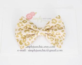 Leopard Print Fabric Hair Bow. Fabric Bow Headband. Baby Hair Bow. Girl Hair Bow. Gold & White Fabric Hair Bow. Toddler Hair Bow