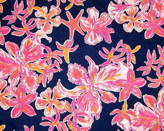 "1 Yard 36"" x 54"" New Lilly Pulitzer Pique Fabric "" Navy Via Sunny """