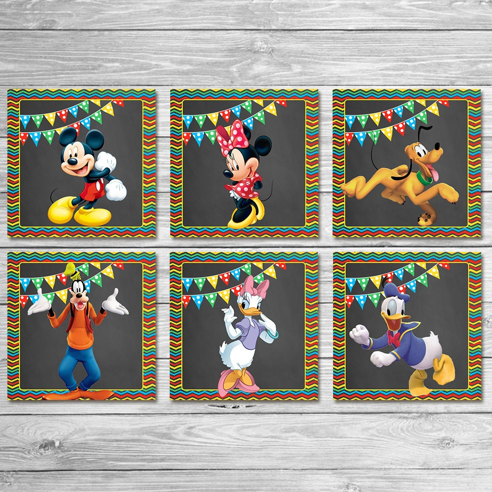 mickey mouse clubhouse square labels 2x2 inches favor tags. Black Bedroom Furniture Sets. Home Design Ideas