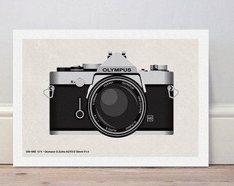Classic camera series 'Olympus OM1' colour print