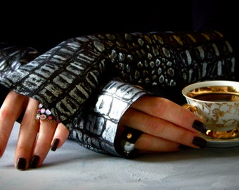 Long Black Silver Leather Gothic Fingerless Gloves Womens mittens Streetwear Night Accessories Evening Leather Arm Warmers Birthday Gift