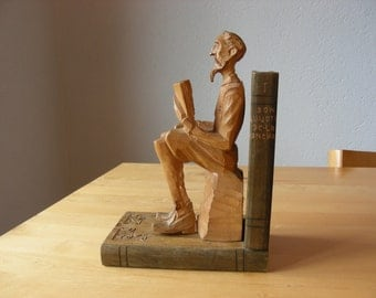 Don Quijote carved wood bookend