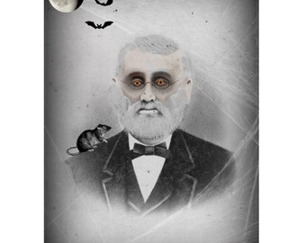 Creepy Old Man Photo Victorian Vintage Altered Art Halloween Wall Instant Download Ephemera Scrapbook Card Art