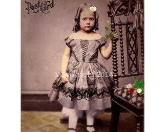 Digital Download Child Girl  Victorian Girl Printable Digital Collage Ephemera Altered Art Mixed Media Vintage Instant Image Cards  Photo