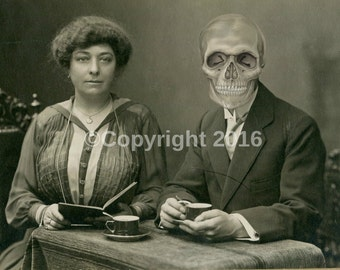 Bizarre Creepy Family Vintage Photo Victorian Vintage Altered Art Halloween Skull  Instant Download Ephemera Scrapbook Card Supply