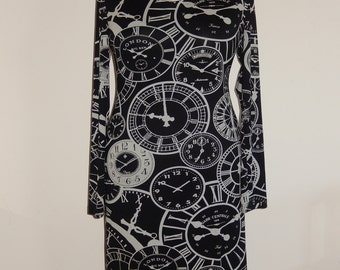 Clocks print dress, black white, size EU 38/40 (USA 8/10, UK 10/12), cotton, tricot