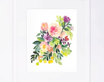 Colorful Watercolor Floral Cluster with Berries