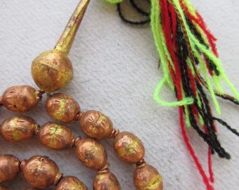 Ethiopian Prayer Beads - Copper/Brass (7x11mm) [62795]