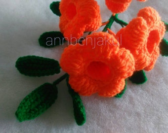 Orange color allamanda : crochet,handmade,diy,flowers,doll,idea,design,yarn,cotton,pattern,wedding,gift