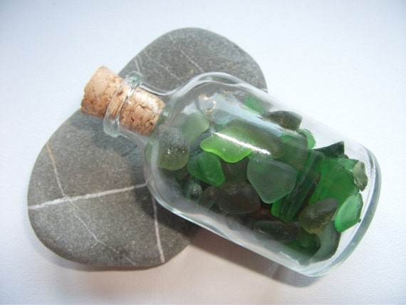 Sea glass bottle small corked bottle green sea glass bottle for Green glass bath accessories