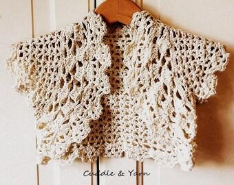 Crochet Baby Jacket, Vintage Cream Bolero, Baptism Jacket, Baby Outfit for Ceremony,  Flower Girl Bolero For Wedding, Newborn Photo Prop.