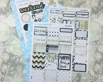 New Years Kit! 3 Page Punched Kit, for your Erin Condren Life Planner, Plum Planner,  Filoflax, calendar
