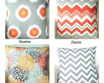Orange Gray White Pillow Covers, Cushions, Decorative Throw Pillows, Chevron, Home Decor, Fall One or More Mix & Match All Sizes