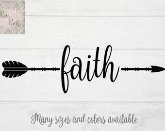 Faith Arrow Decal, Faith Decal, Arrow Decal, Boho Decal, Faith Wall Decor, Faith Decor, Inspirational Decal, Laptop Decal, Car Decal