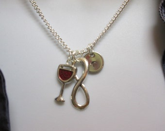 Red wine necklace, personalized initial infinity necklace, celebrate with wine necklace, #95-36
