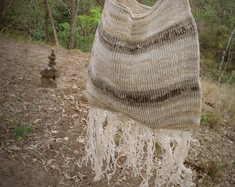 Hand woven natural earthy vintage bag