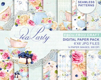 Tea Party Digital Paper Pack Watercolor Flowers Seamless Patterns Bridal Shower Blueberries Cake Peach Pink Blue Instant Download 6x6