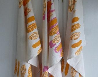 Orange leaves screen printed organic cotton Tea Towel