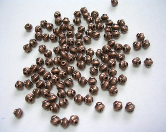 Copper Spacer Beads 5mm ornate copper bicones Dotted copper beads 5mm antiqued copper beads metal beads 50 5mm antiqued copper spacers