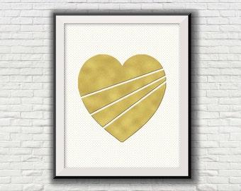 Heart Printable Instant digital download wall art print Nursery Children Girls Boys room decor Gold foil 8x10 [NO 119]